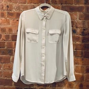 Sheer white button down blouse from Loft
